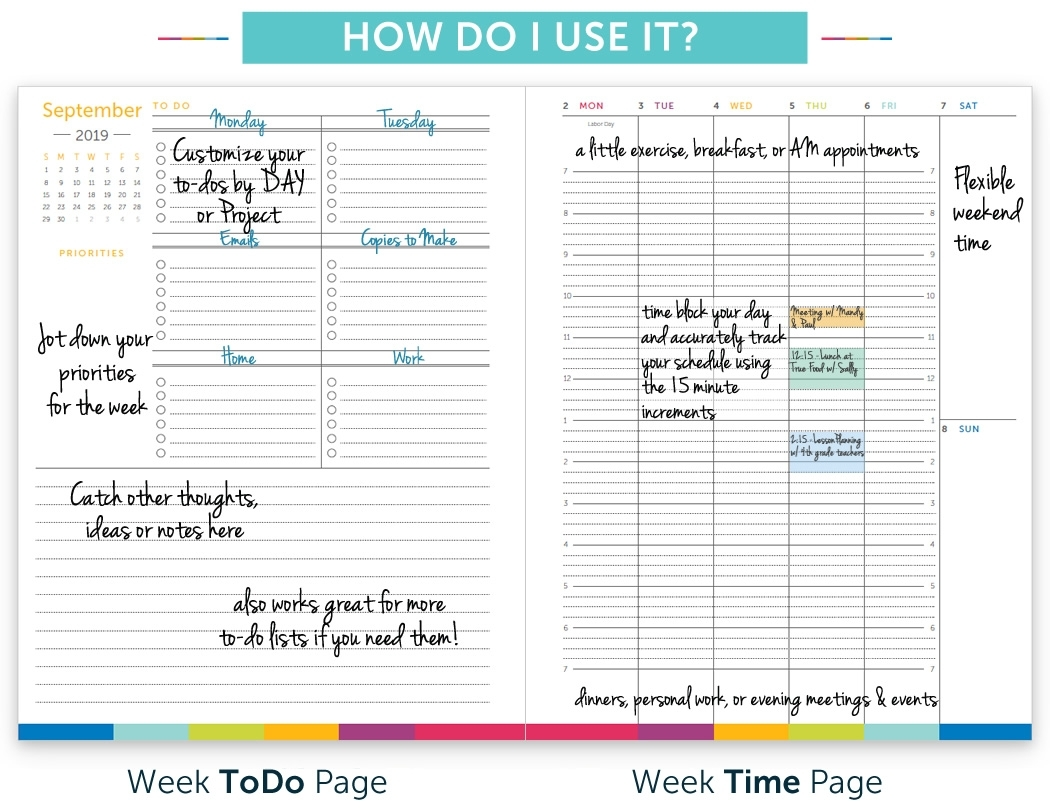 Planner With Time Slots | Calendar For Planning