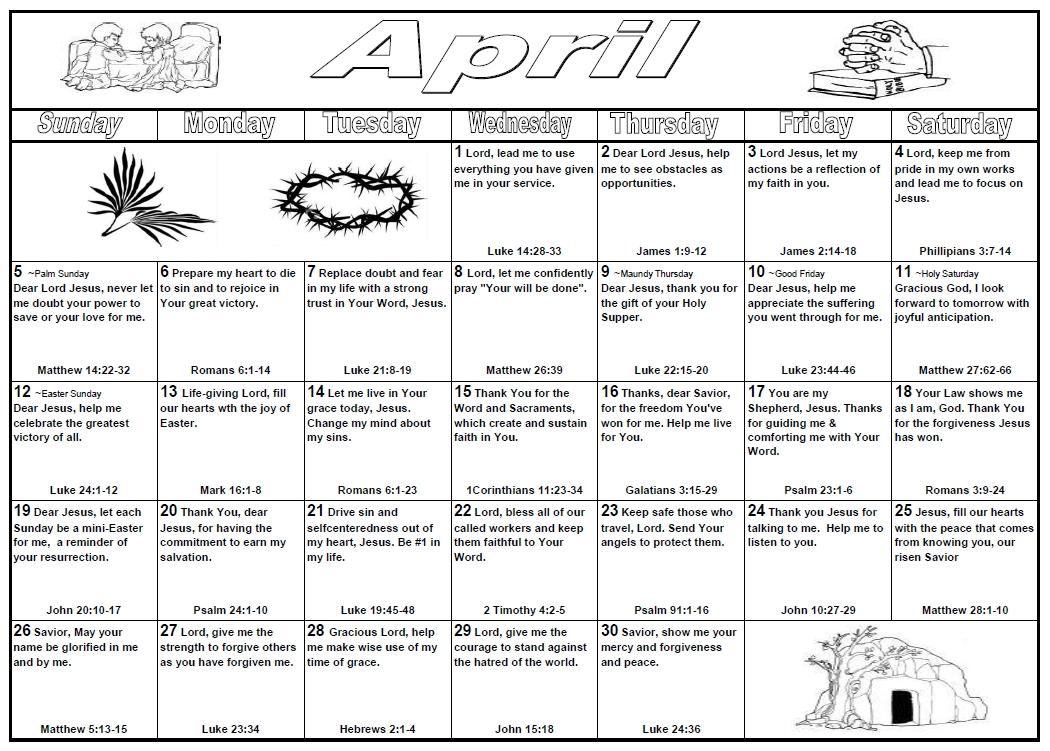 Prayer Calendar | Institutional Ministries