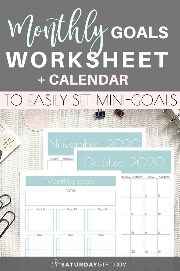 Pretty & Practical Monthly Goals Template And Calendar 2020 & 2021