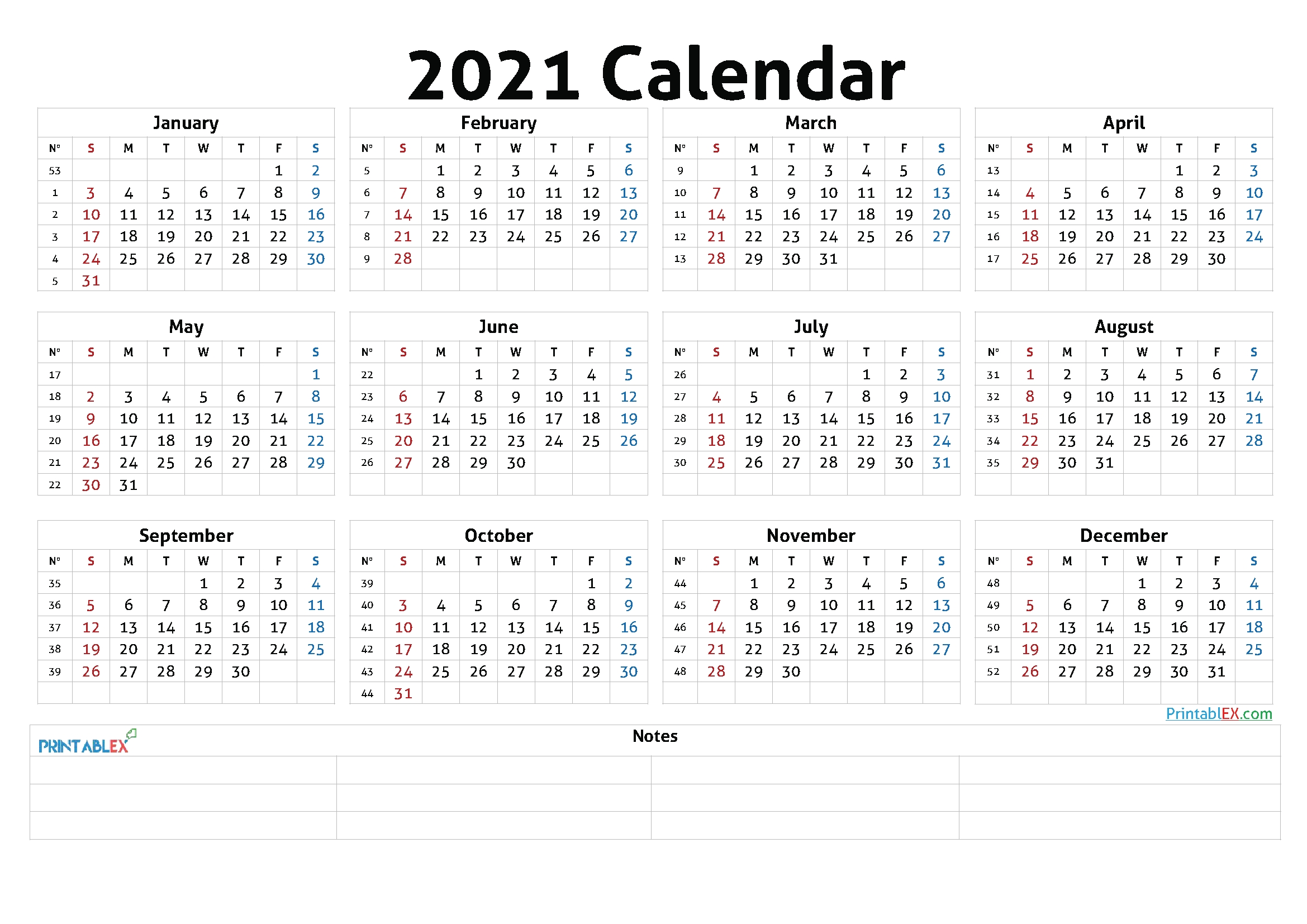 Printable 2021 Calendar By Year - 21Ytw46