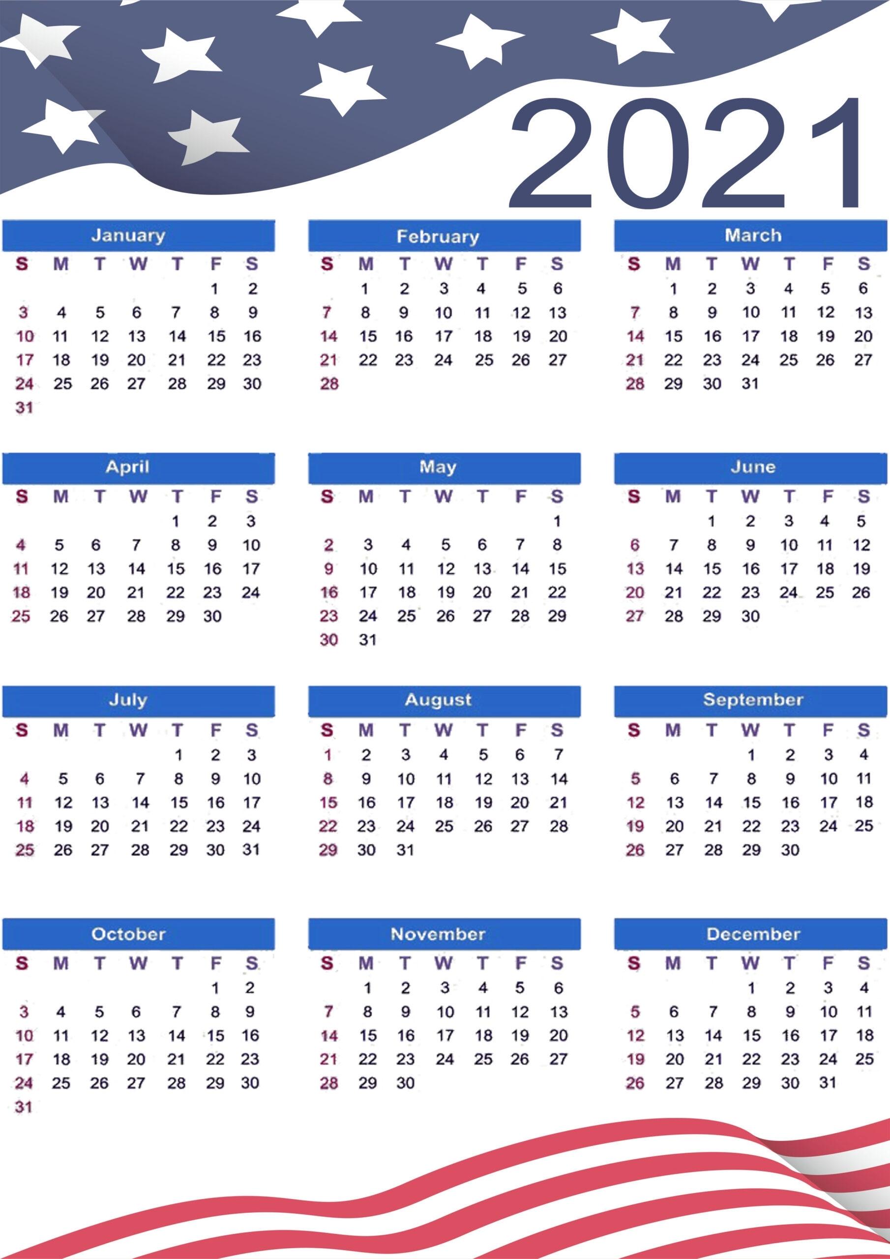 Printable 2021 Us Calendar With Holidays, Federal, Bank & Observation