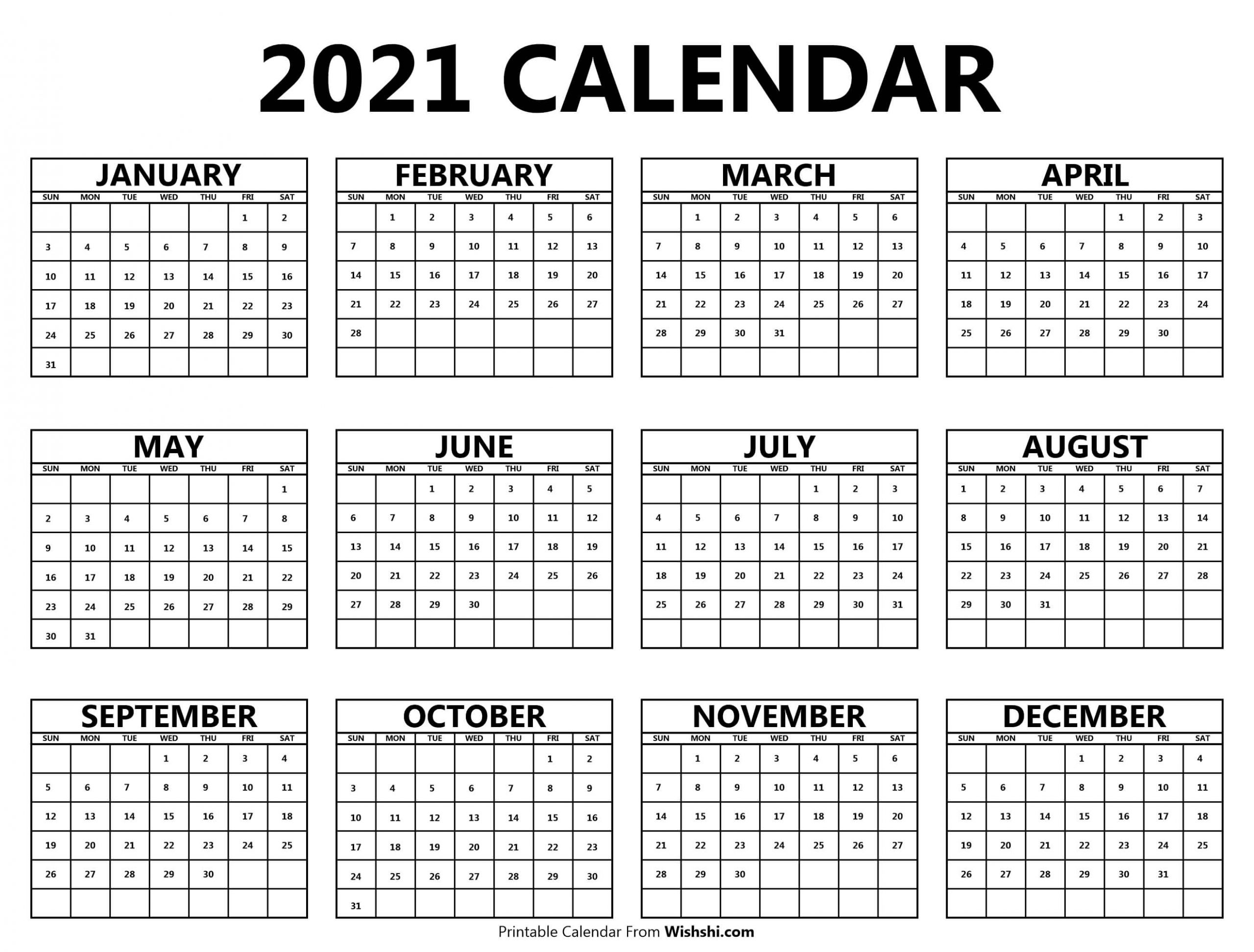 Printable 2021 Yearly Calendar - Free Printable Calendars Printable 2021 Yearly Calendar