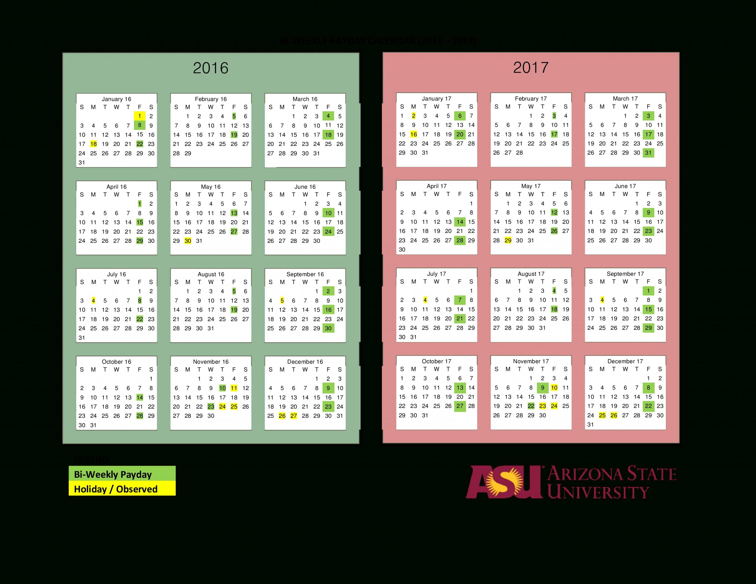 Printable Bi Weekly Payday Calendar Templates At