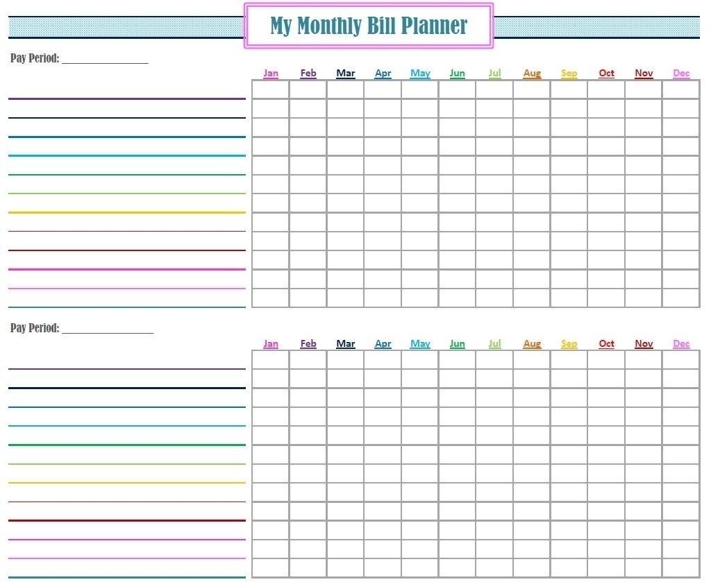 Printable Blank Paying Bills Organizer - Calendar Inspiration Design