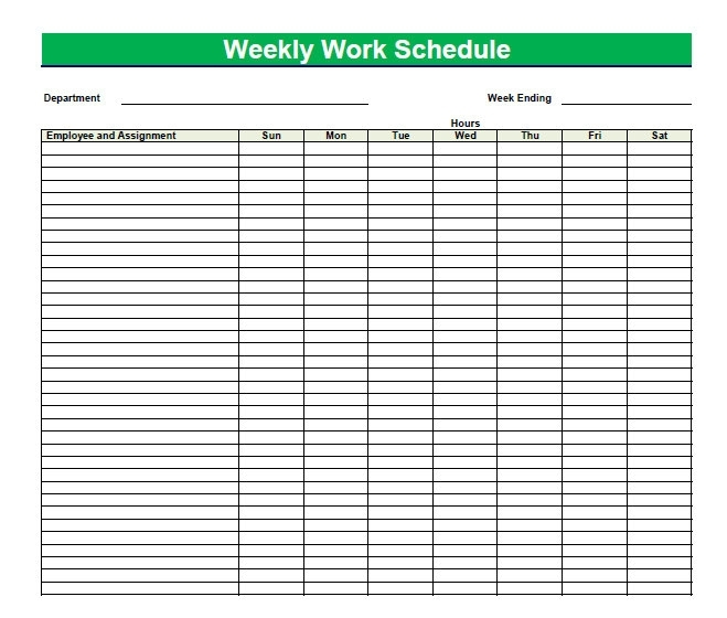 Printable Blank Pdf Weekly Schedules | Blank Pdf Weekly Schedule