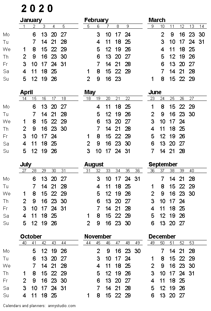 Printable Calendar That Shows Each Day Numbered Out Of 365 Image   Calendar Template 2020