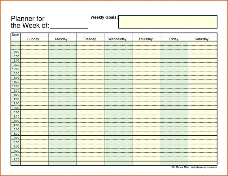 Printable Daily Schedule With Time Slots Blank Weekly Times Editable Free | Schedule Template