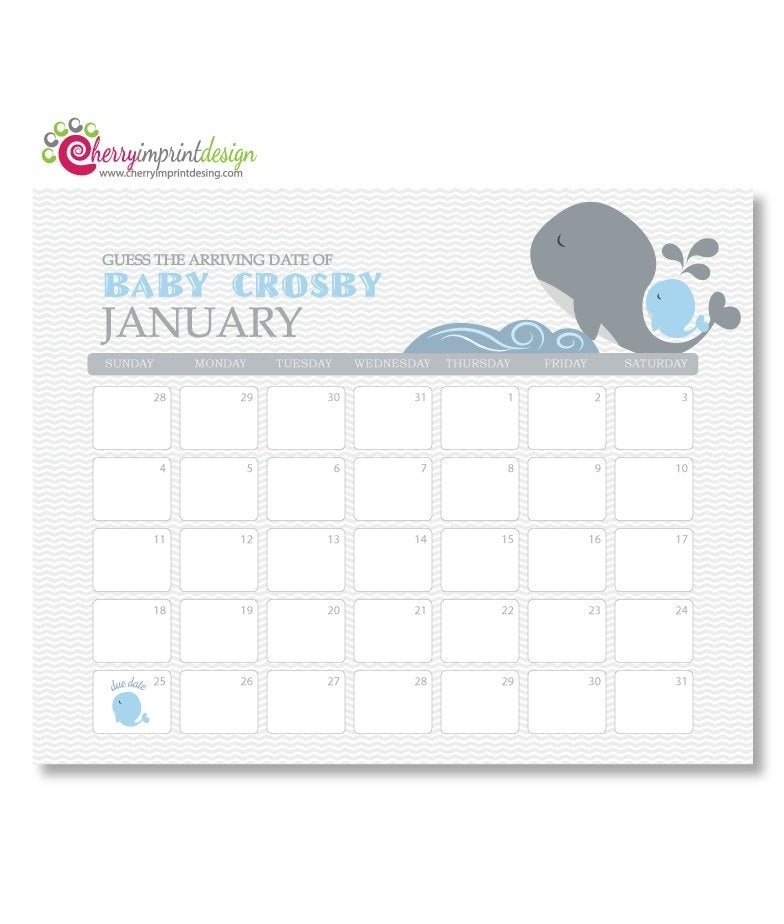 Printable Guess The Due Date Calendar Baby By Cherryimprintdesign