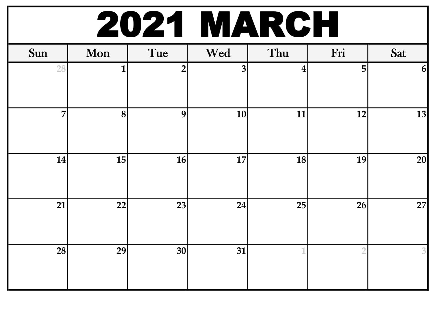 Printable March 2021 Calendar Pdf - Thecalendarpedia