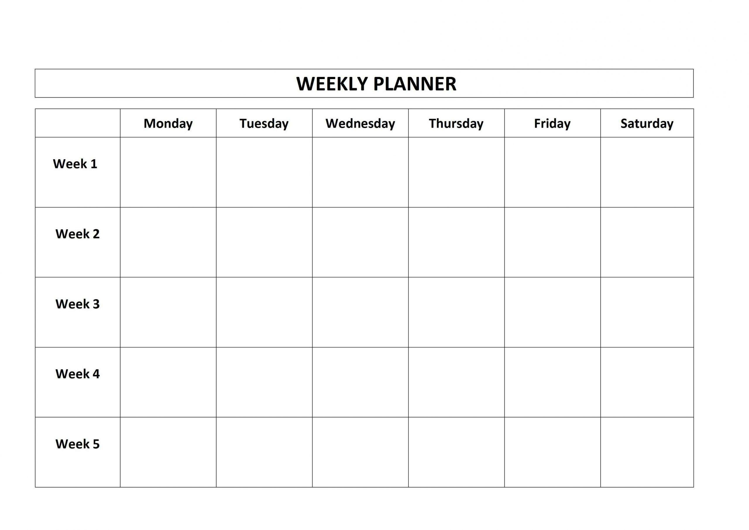 Printable Monday Through Friday Calendar | Qualads