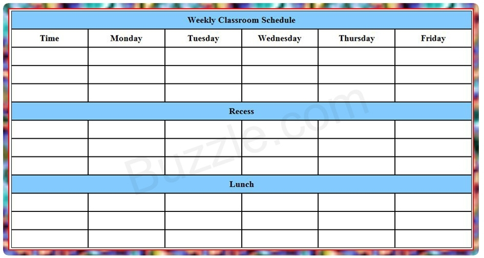Printable Weekly Class Schedule Template - Eduzenith