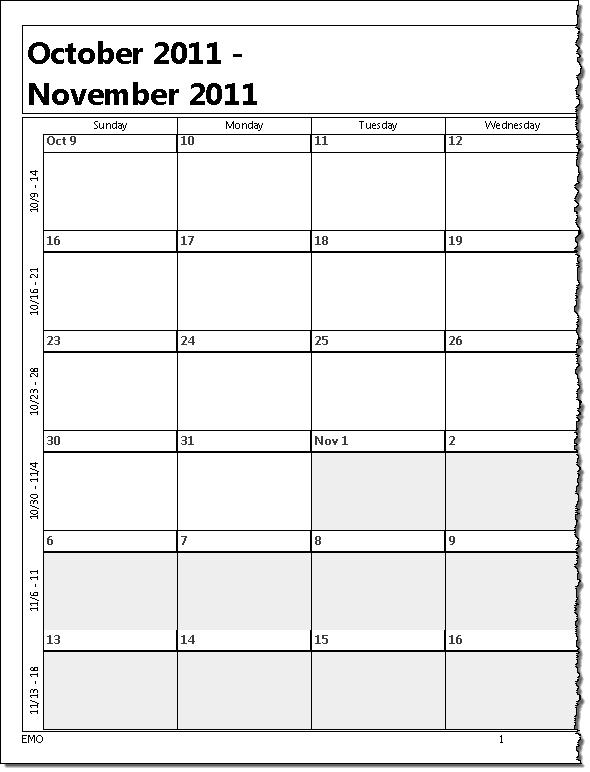 Printing A Five Week Calendar