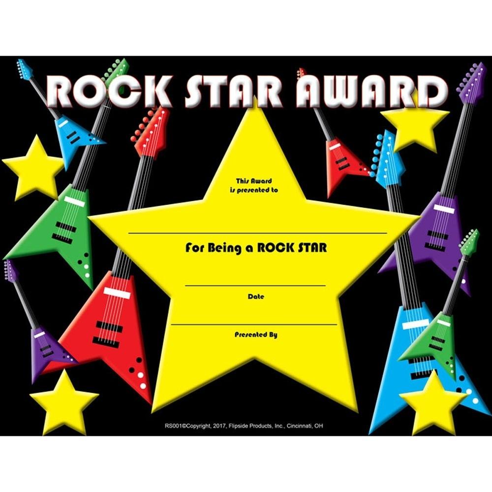 """Rock Star Award Certificate, 8.5"""" X 11"""", Pack Of 30 - Flprs001   Flipside   Certificates"""