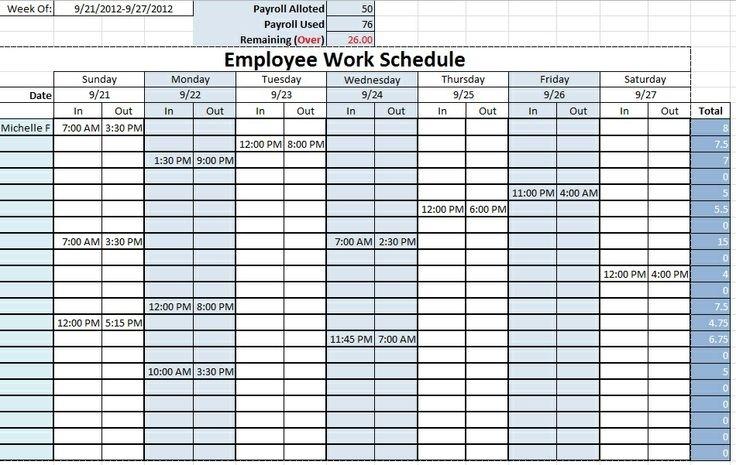 Salon Work Shift Schedule Template - Trainingable