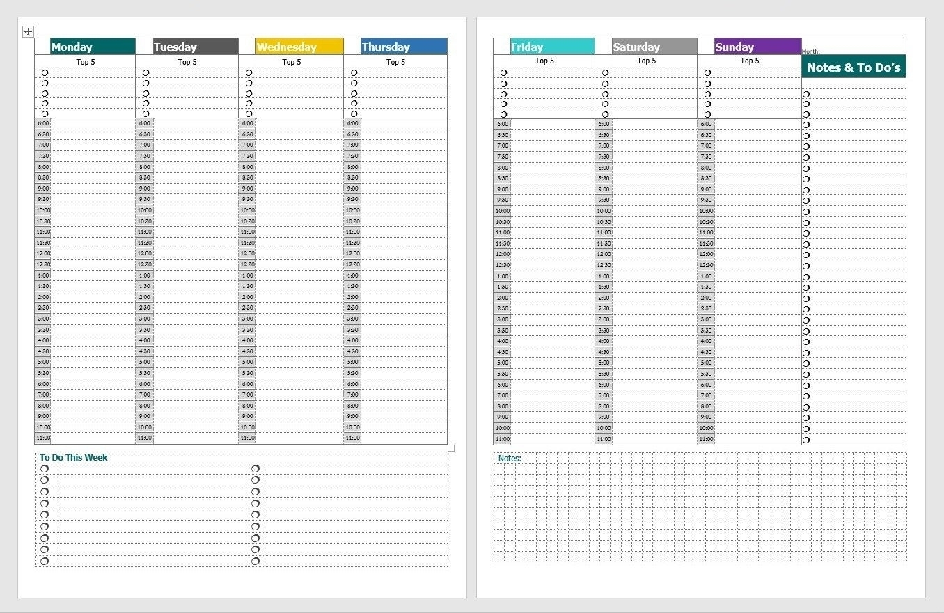 Schedule With Time Slots 6 Am - Calendar Inspiration Design