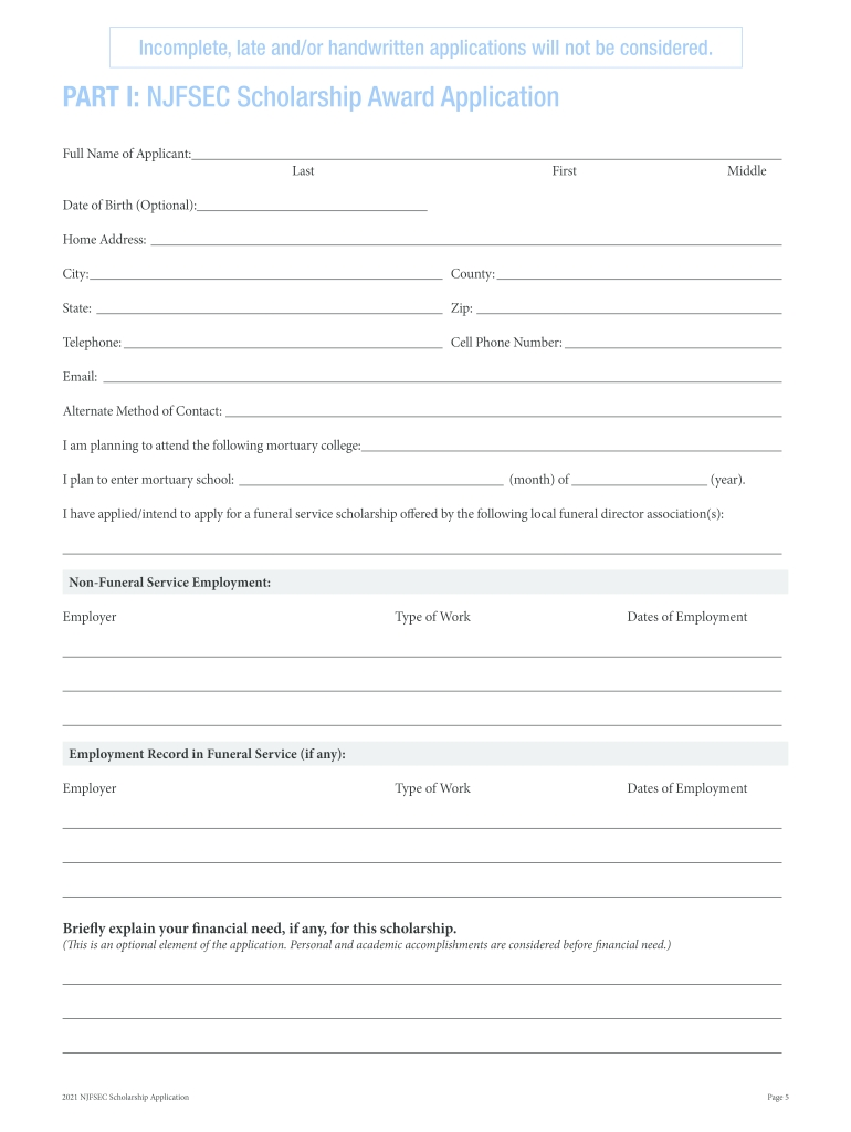 Scholarship Application Njfsec Njsfda - Fill Out And Sign Printable Pdf Template   Signnow