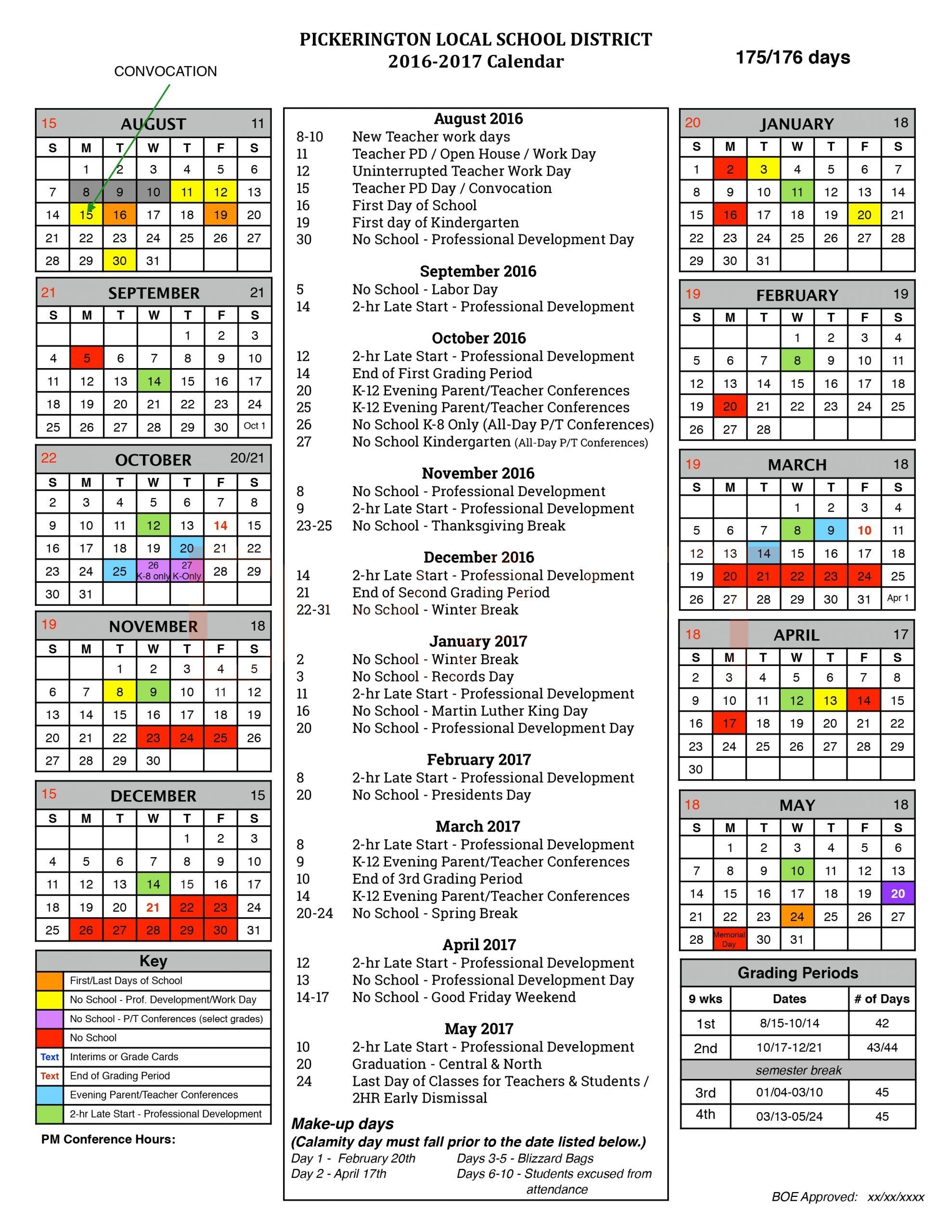 School Board Oks 2016-17 Calendar - Pickerington Local School District