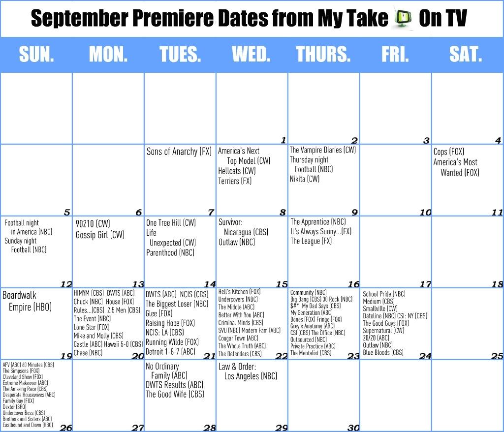 September Calendar | My Take On Tv