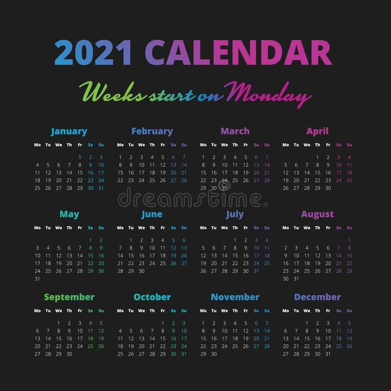 Simple 2021 Year Calendar, Weeks Start On Monday Stock Vector - Illustration Of Business, Card