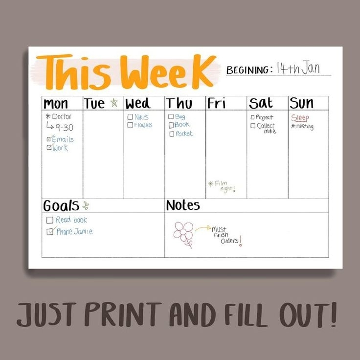 Simple Weekly Planner Printable - A4, A5 | Planner Pages | Weekly Organiser | Black Or Yellow