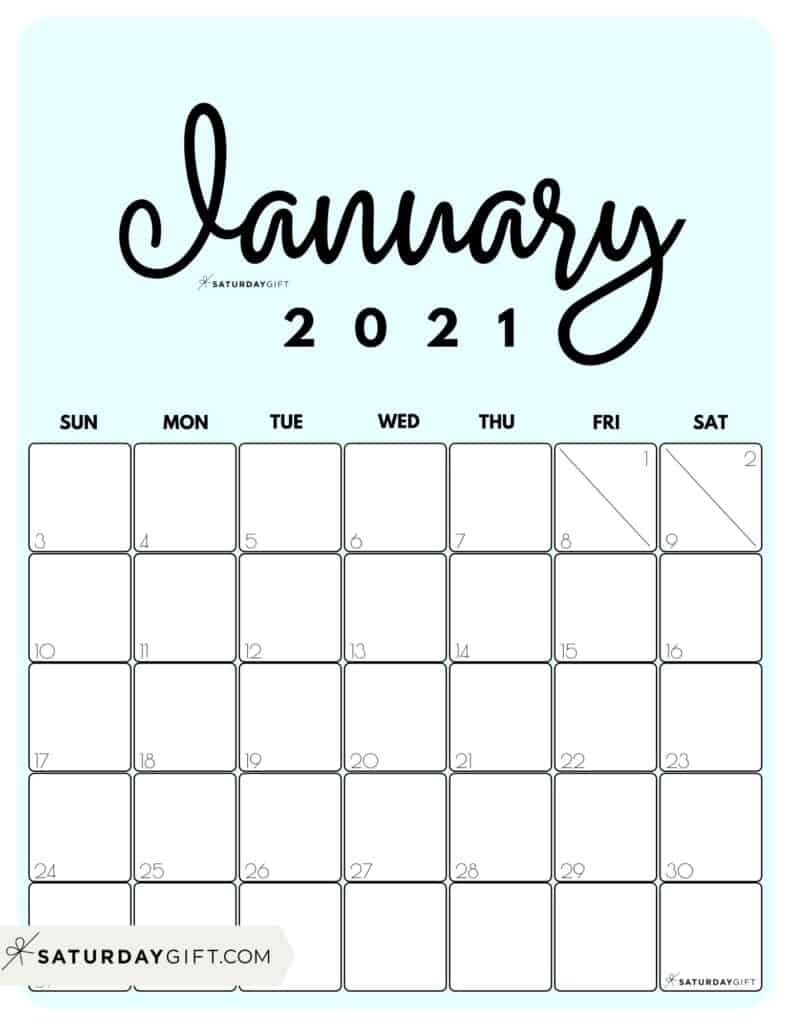 Small Printable January 2021 | Free Printable Calendar