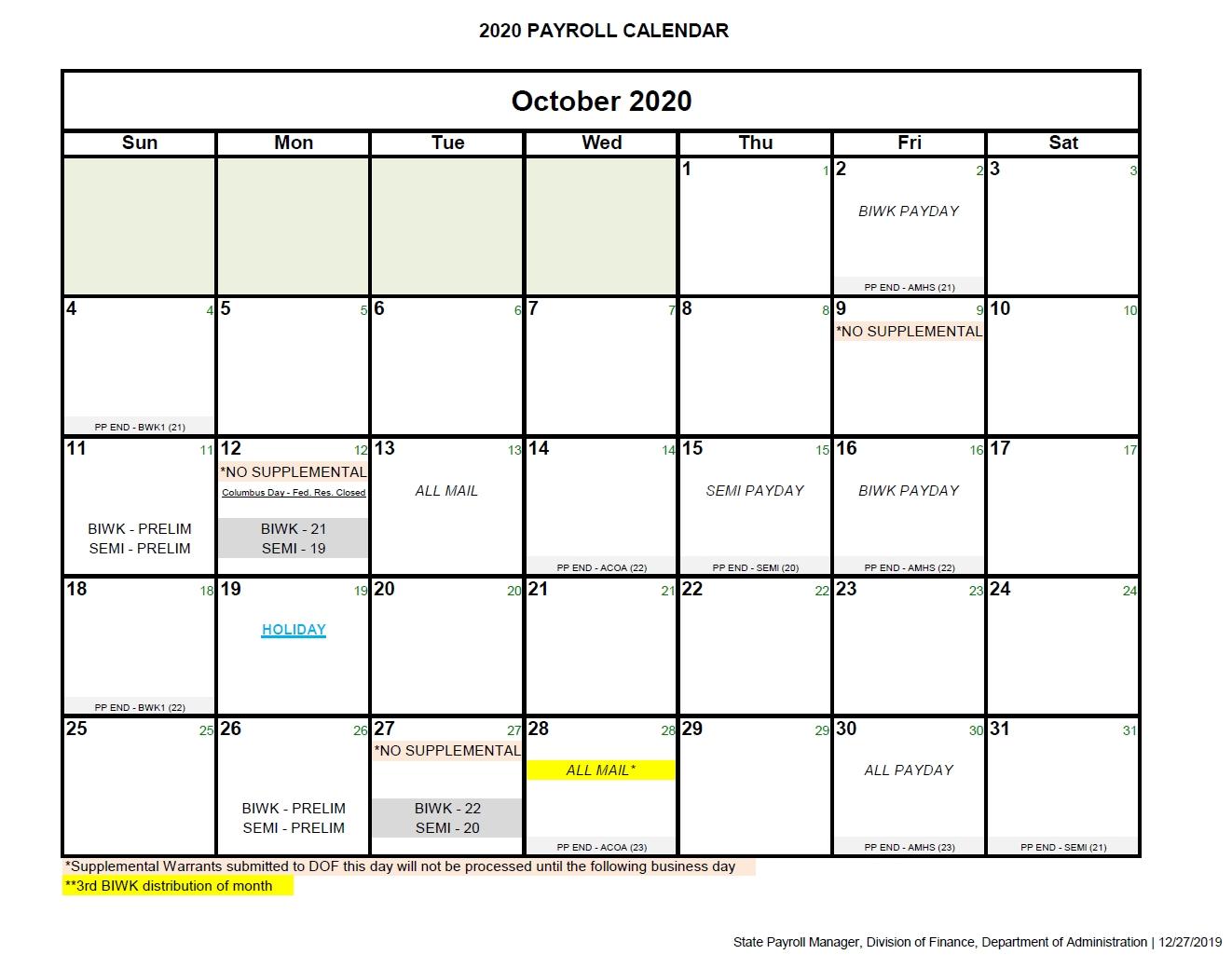 State Of Alaska Payroll Calendar 2021 | Payroll Calendar