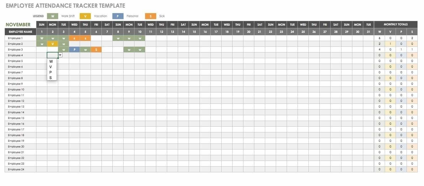 Time Off Calendar Excel | Calendar Template 2020