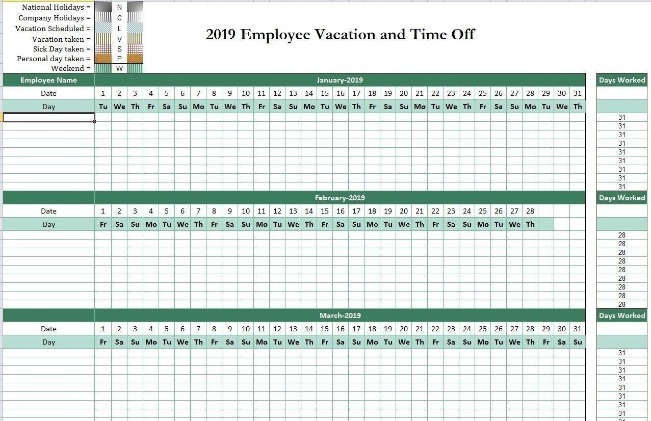 Time Off Calendar Template | Calendar Template 2021