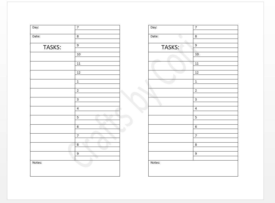 Undated Daily W/ Half-Hour Time Slots & Task List Half-Sheet | Etsy