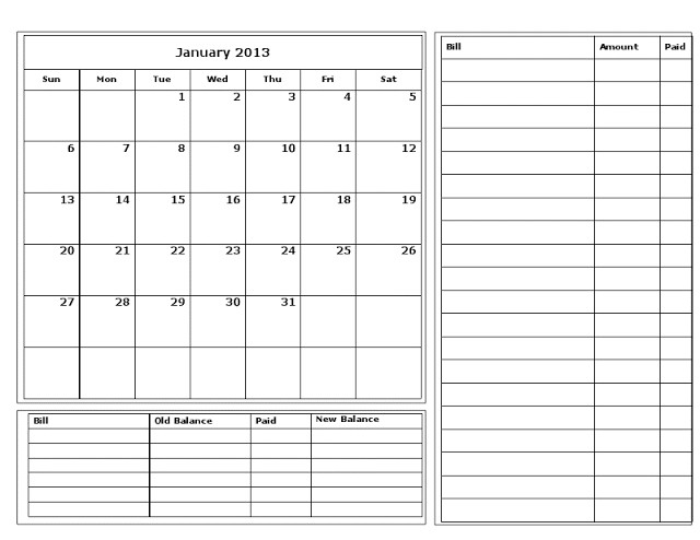 Unique Printable Monthly Bill Calendar | Free Printable Calendar Monthly