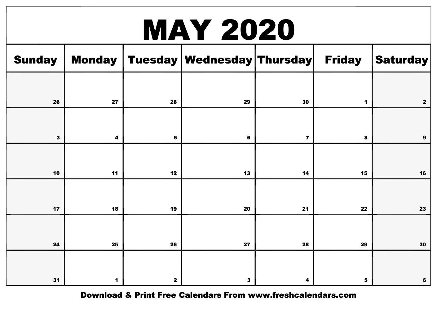 Universal Blank 30 Day Calendar Starting May 24 | Get Your Calendar Printable