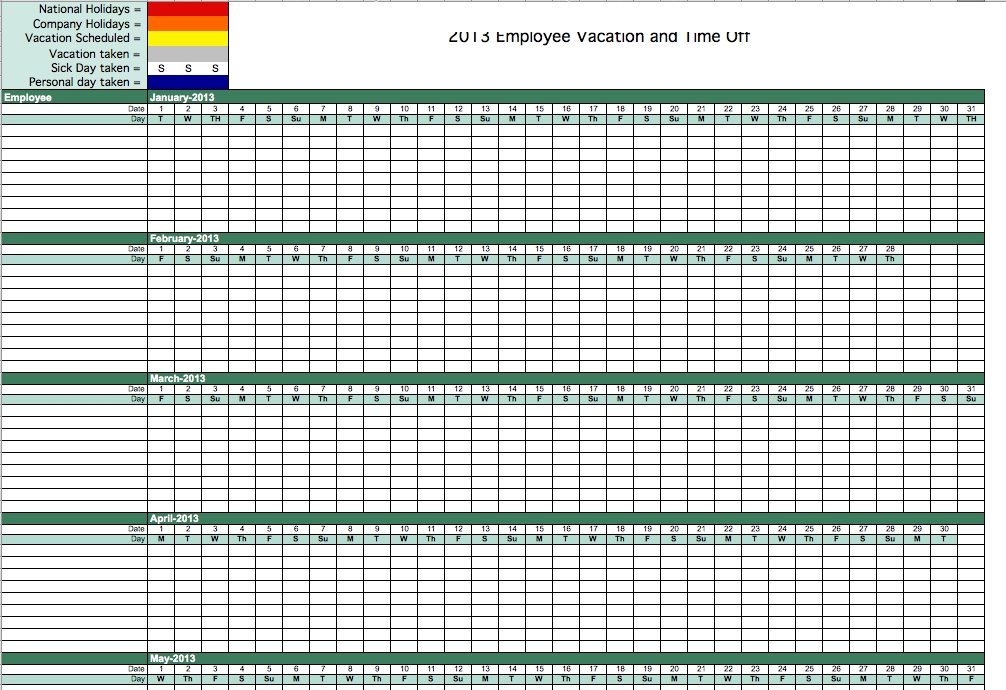 Vacation Time Tracking Template | Vacation Time Tracking