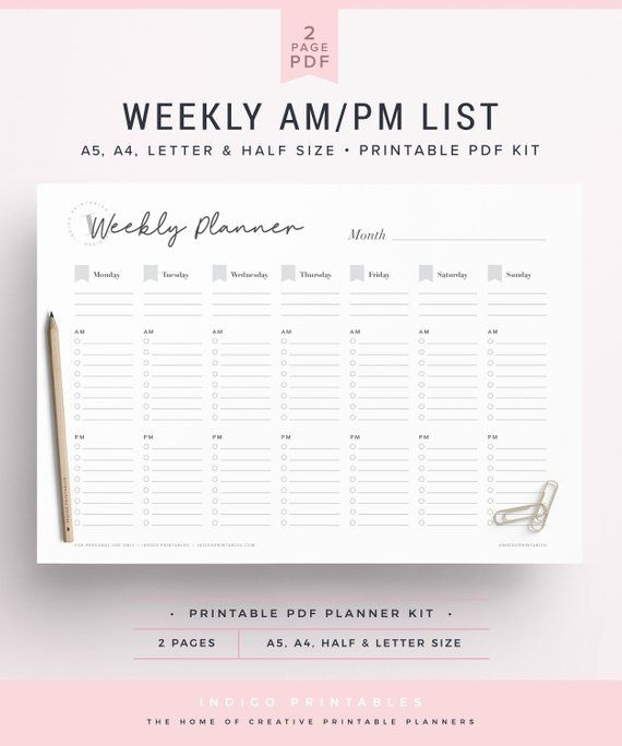 Weekly Am Pm List, Undated Planner, Planner Insert A5, A5 Weekly Planner Printable, Weekly