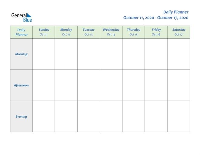 Weekly Calendar - October 11, 2020 To October 17, 2020 - (Pdf, Word, Excel)