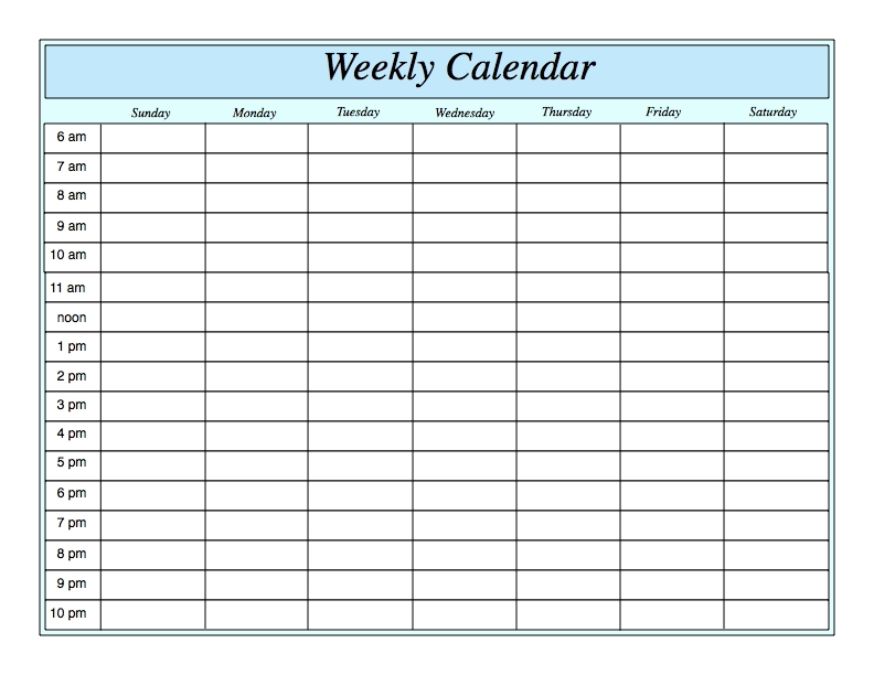 Weekly Calendar Template With Times - Printable Year Calendar