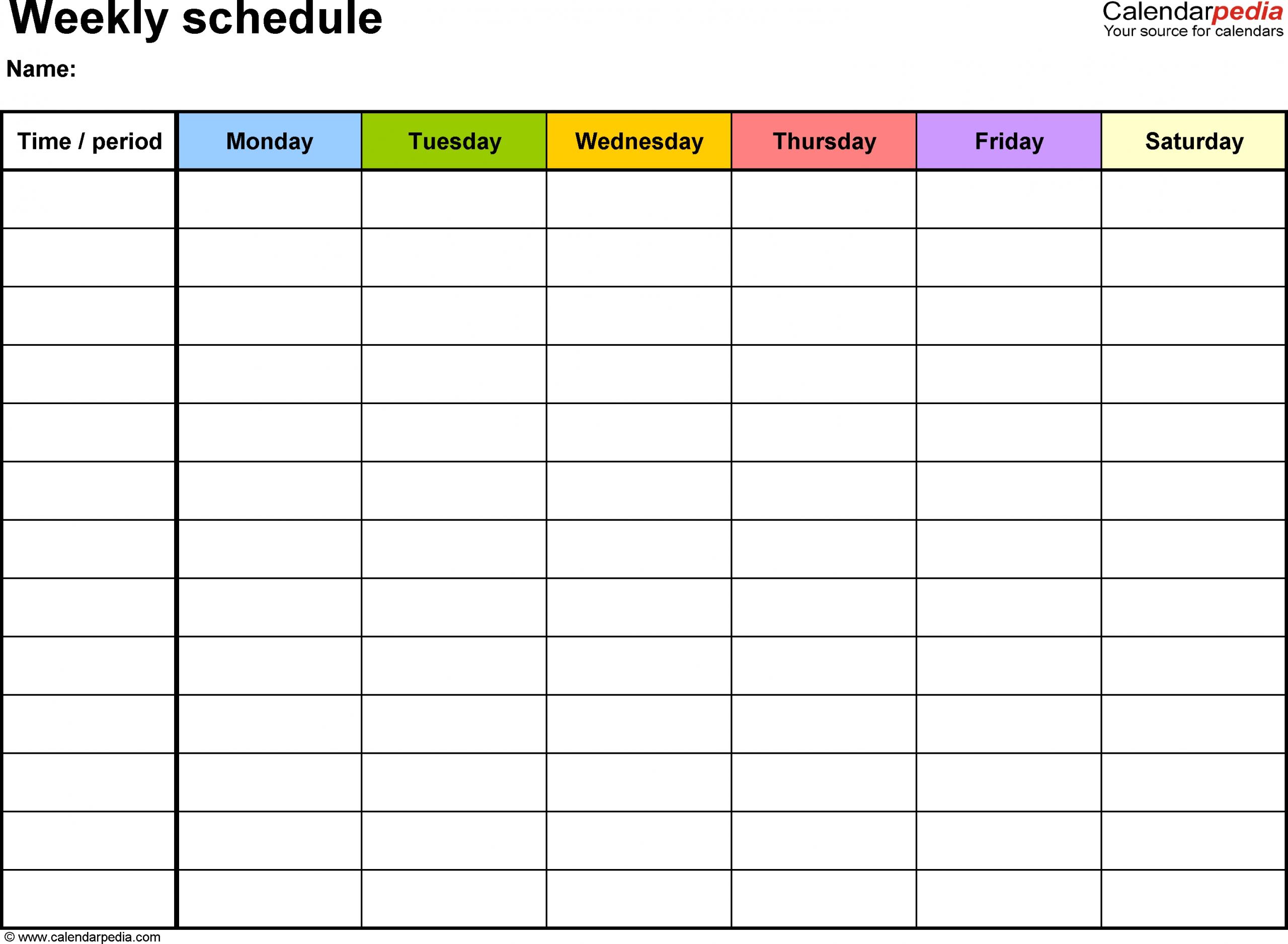 Weekly Calendar Template Word