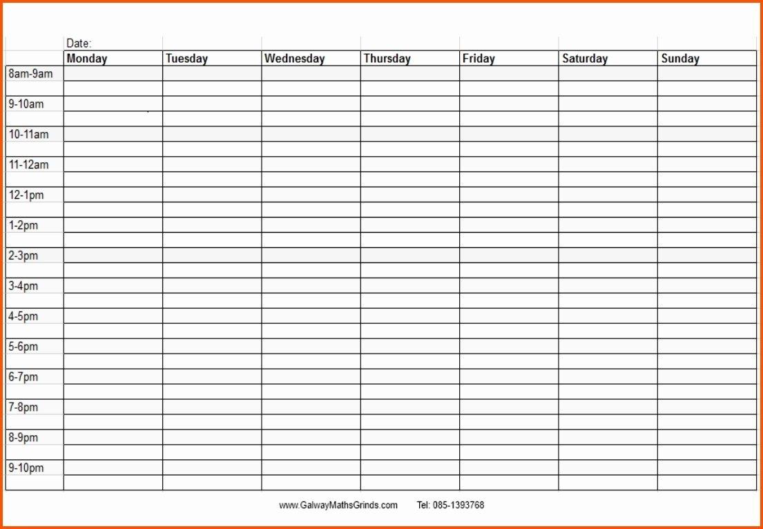 Weekly Calendar With Time Slots Printable Blank Weekly Calendar-Blank Weekly Schedule With Times