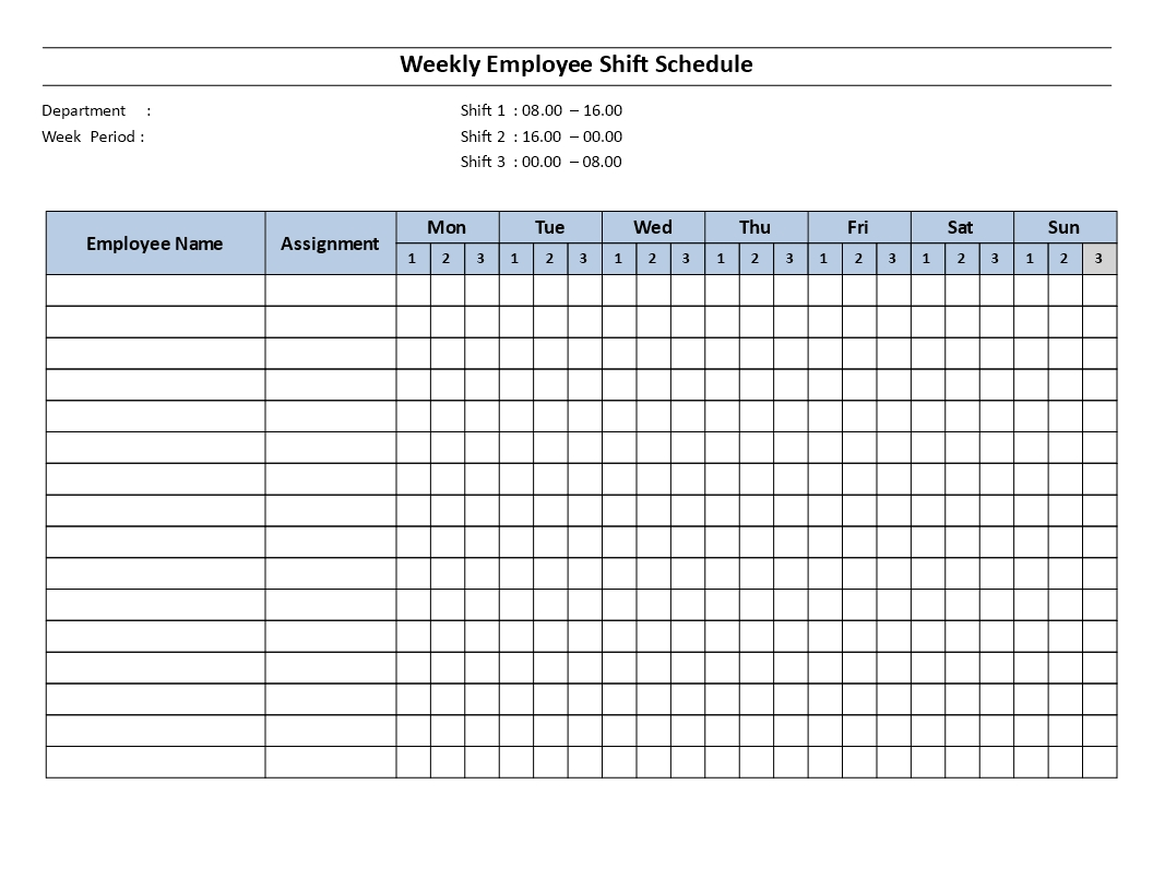 Weekly Employee 8 Hour Shift Schedule Mon To Sun | Templates At Allbusinesstemplates
