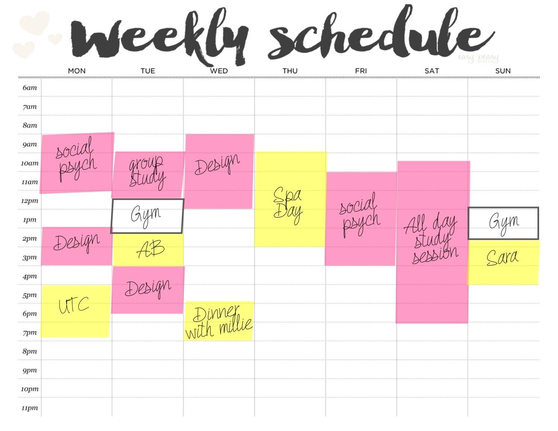 Weekly Schedule Printable Weekly Timetable // A4 Weekly
