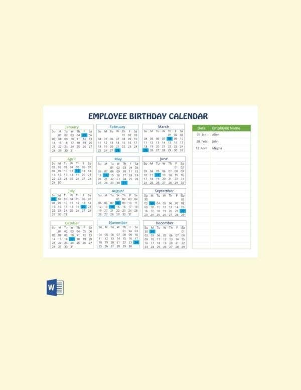 43+ Birthday Calendar Templates - Psd, Pdf, Excel | Free & Premium Templates