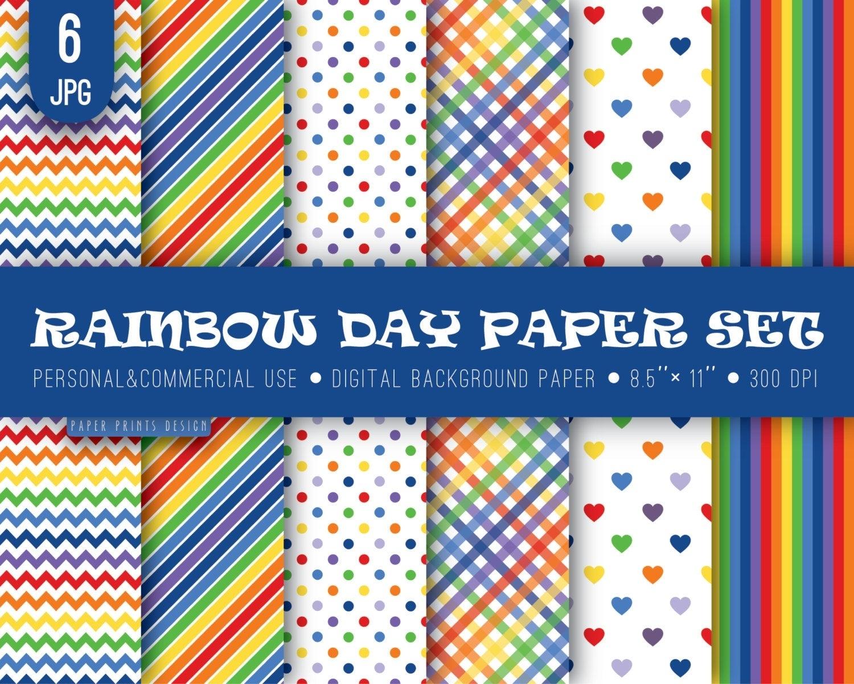 8.5 X 11 Rainbow Digital Paper 8.5 X 11 Print Rainbow Paper