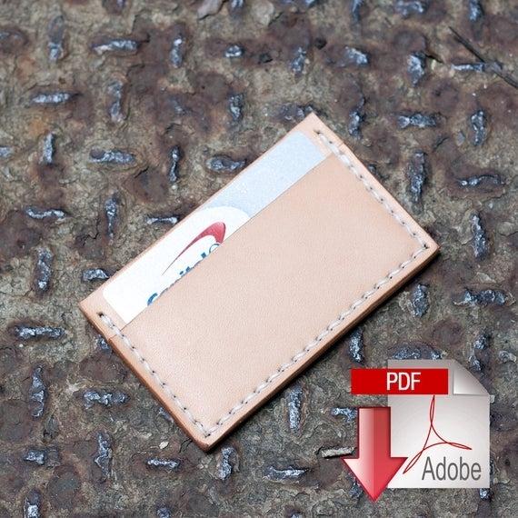 Basic Leather Card Holder Digital Template 8.5 X 11 Build | Etsy