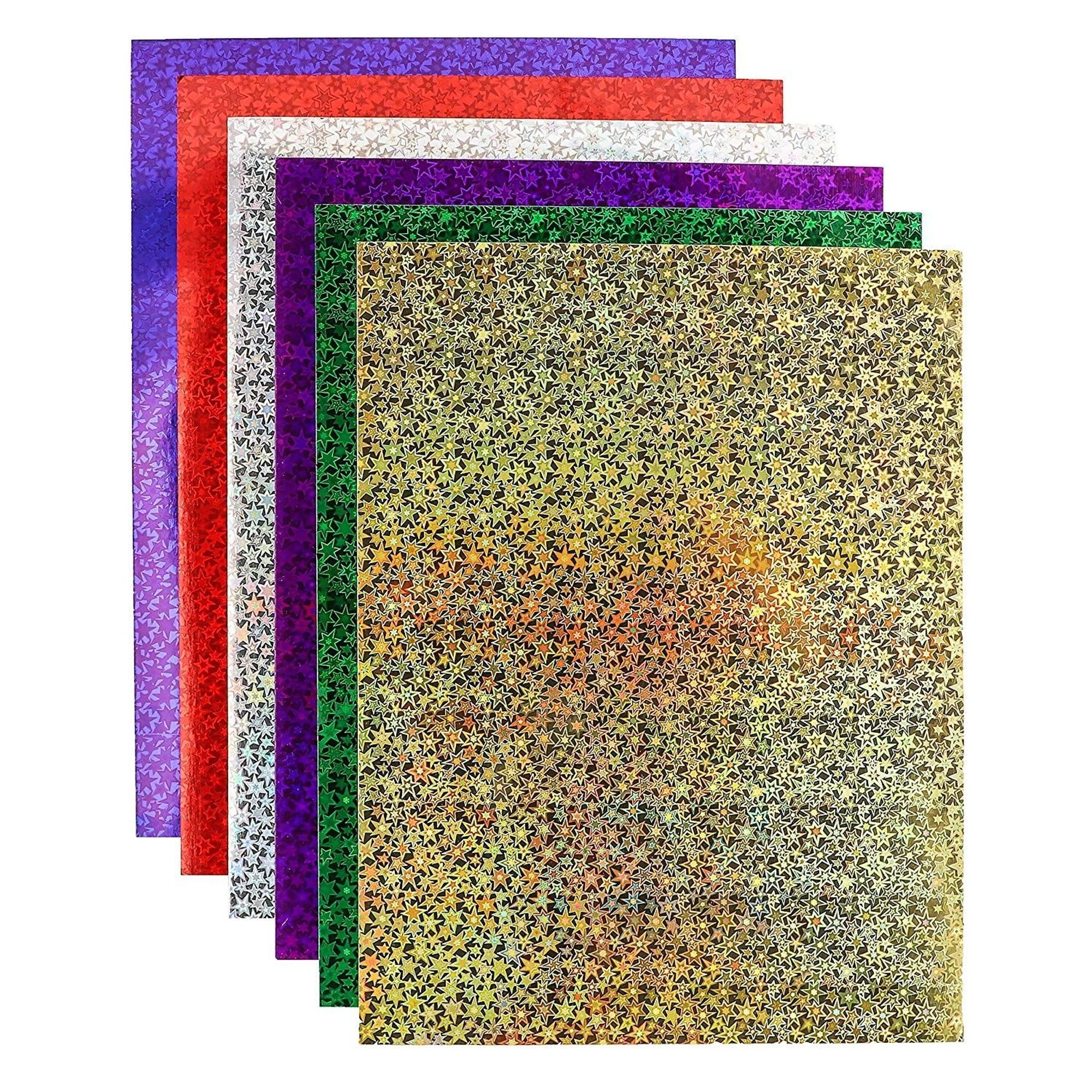 Bright Creations 72-Sheets Holographic Glitter Cardstock Paper 250 Gsm (8.5 X 11 In, 6 Assorted
