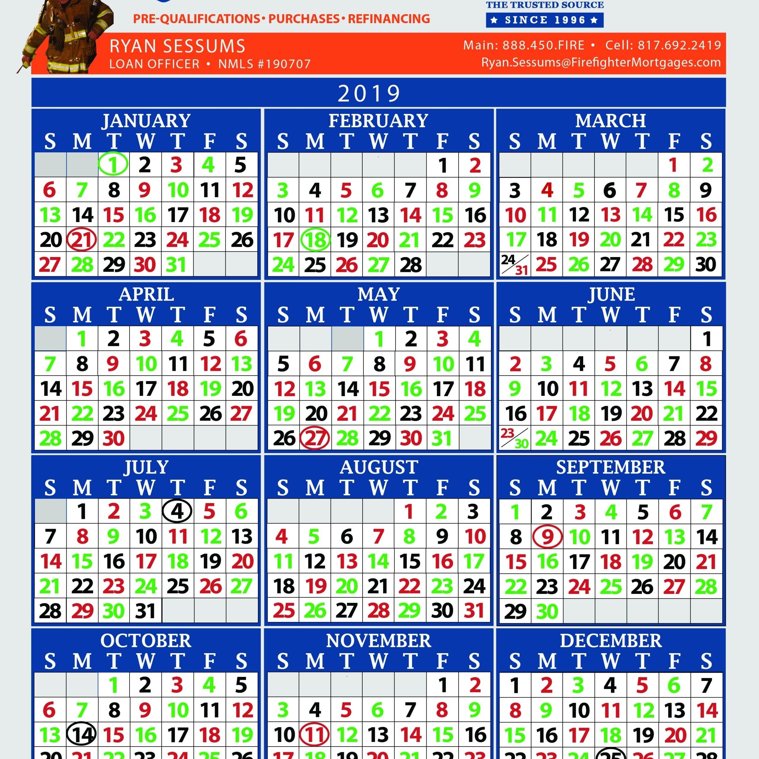 Firefighter Shift Calendars   Get Free Calendar