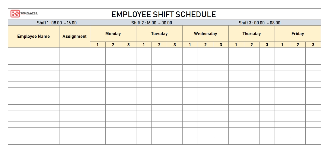Free Employee Shift Schedule Template For Excel - Weekly & Monthly