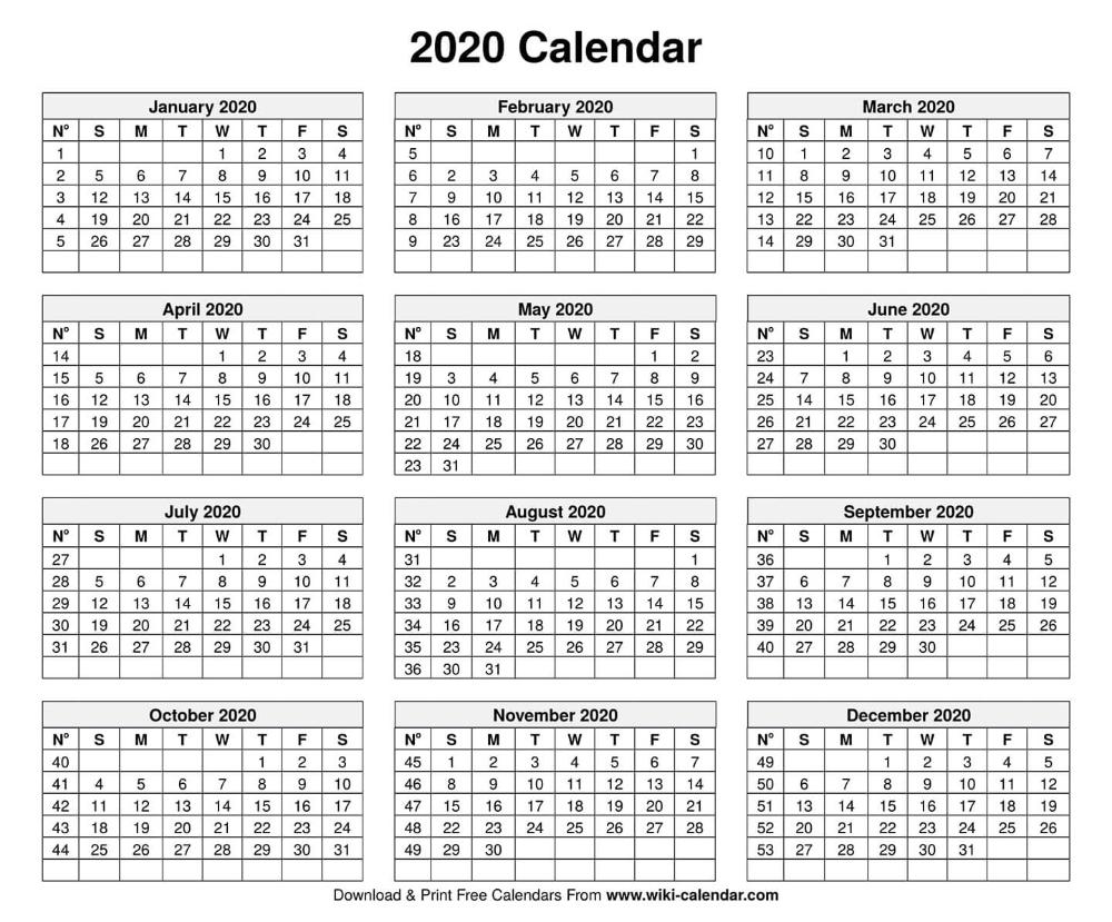 Free Printable Year 2020 Calendar   2020 Calendar Template, Calendar Template, Printable