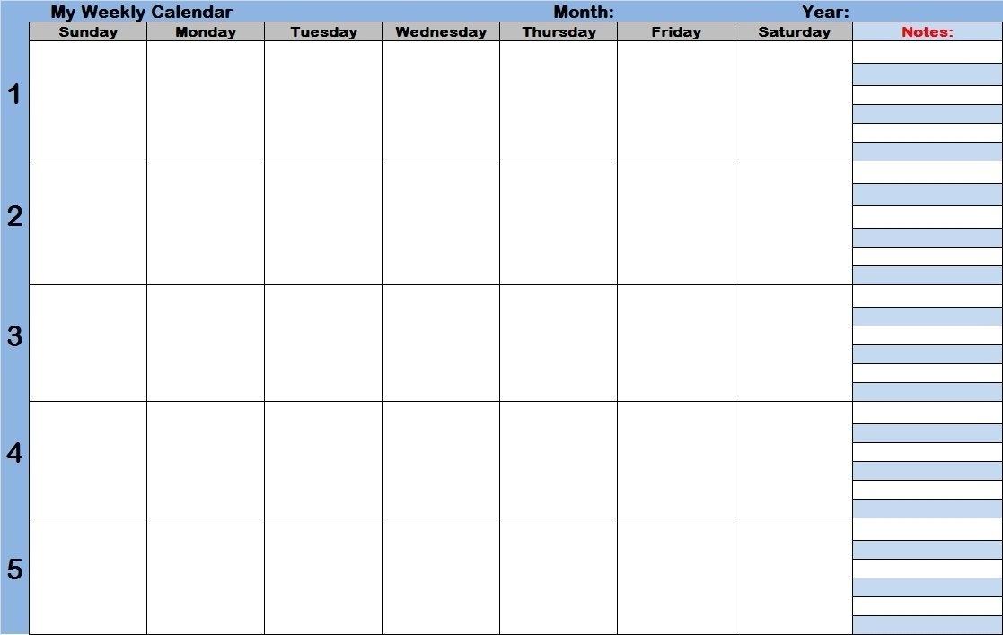 How To Free Blank 1 Week Calendar Monday Through Friday   Get Your Calendar Printable