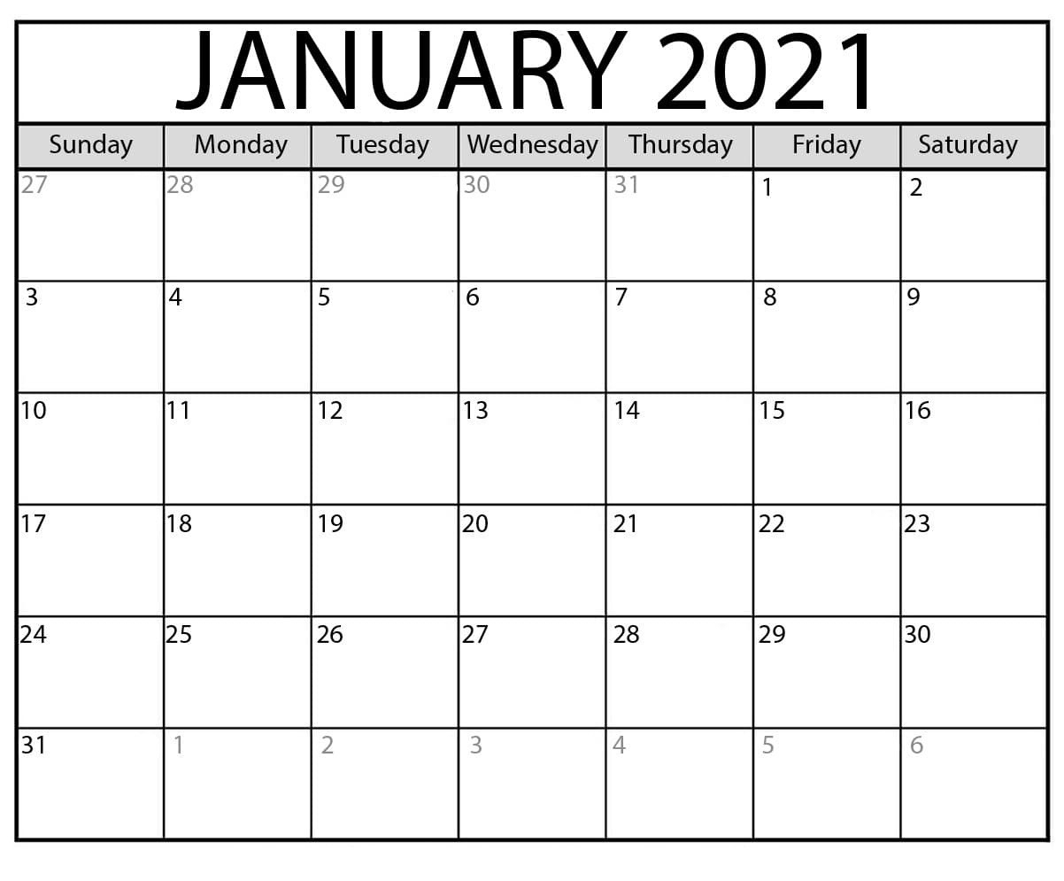January 2021 Calendar With Printable Pdf | By Calendarness | Medium