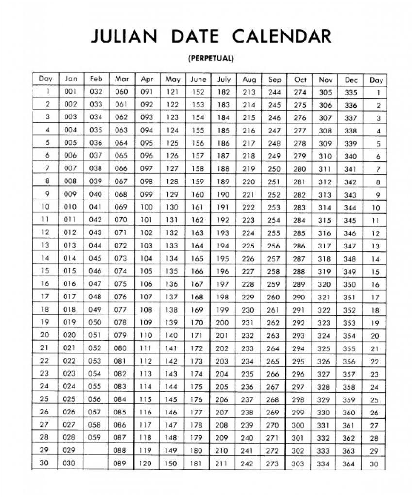 Military Julian Date Calendar - Template Calendar Design