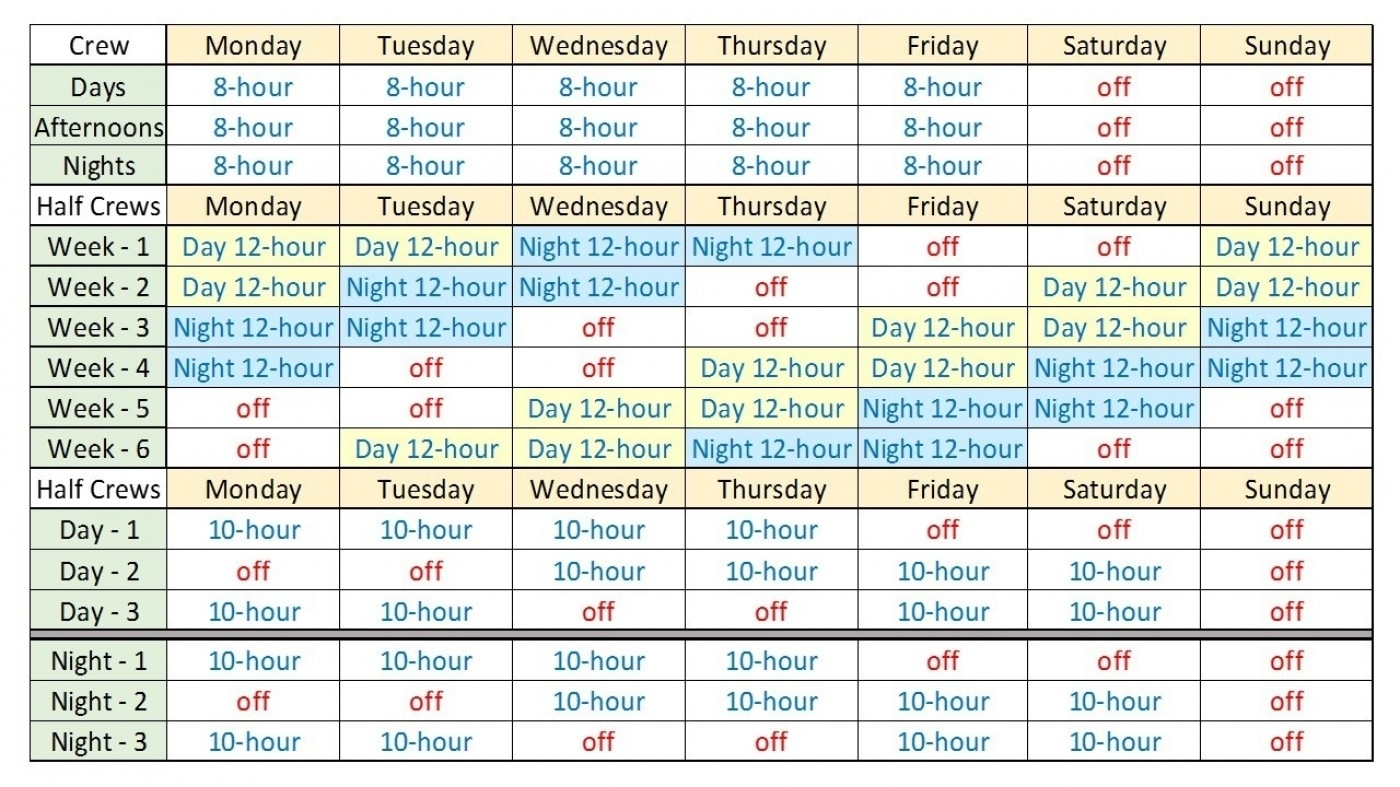 Printable 12 Hour Shift Schedule   Example Calendar Printable